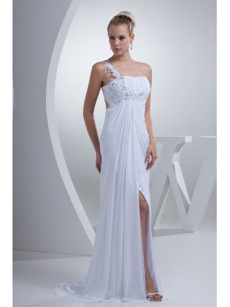 Gorgeous Beaded One Strap Chiffon Long Wedding Dress Split Front