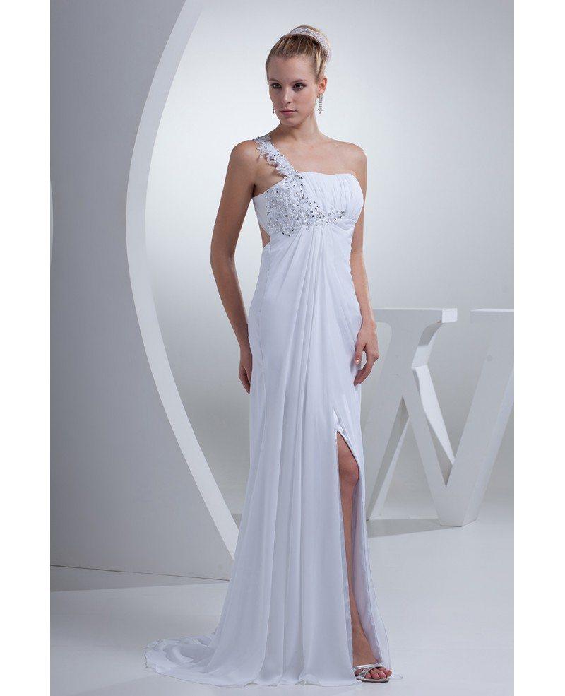 Gorgeous Beaded One Strap Chiffon Long Wedding Dress Split Front ...