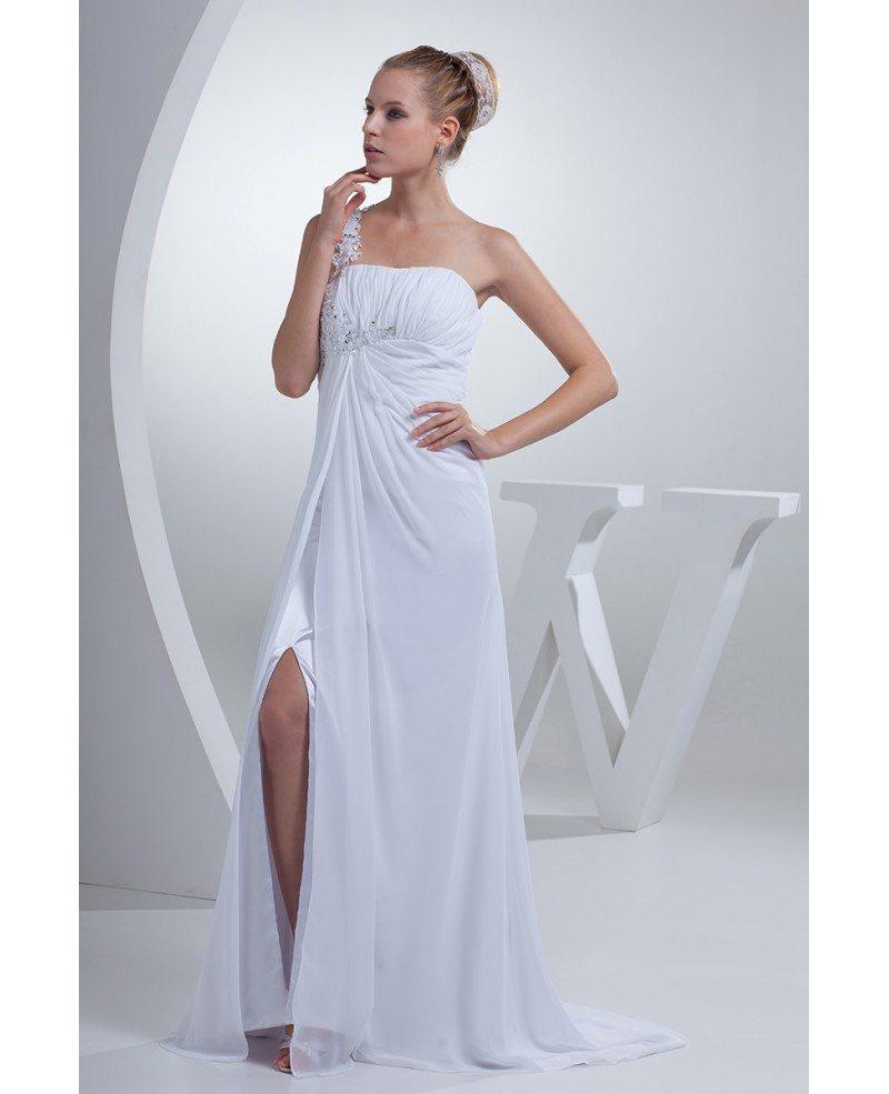 One Strap Wedding Gowns: Gorgeous Beaded One Strap Chiffon Long Wedding Dress Split