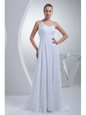 Grecian One Shoulder Beach Wedding Dress Long Chiffon