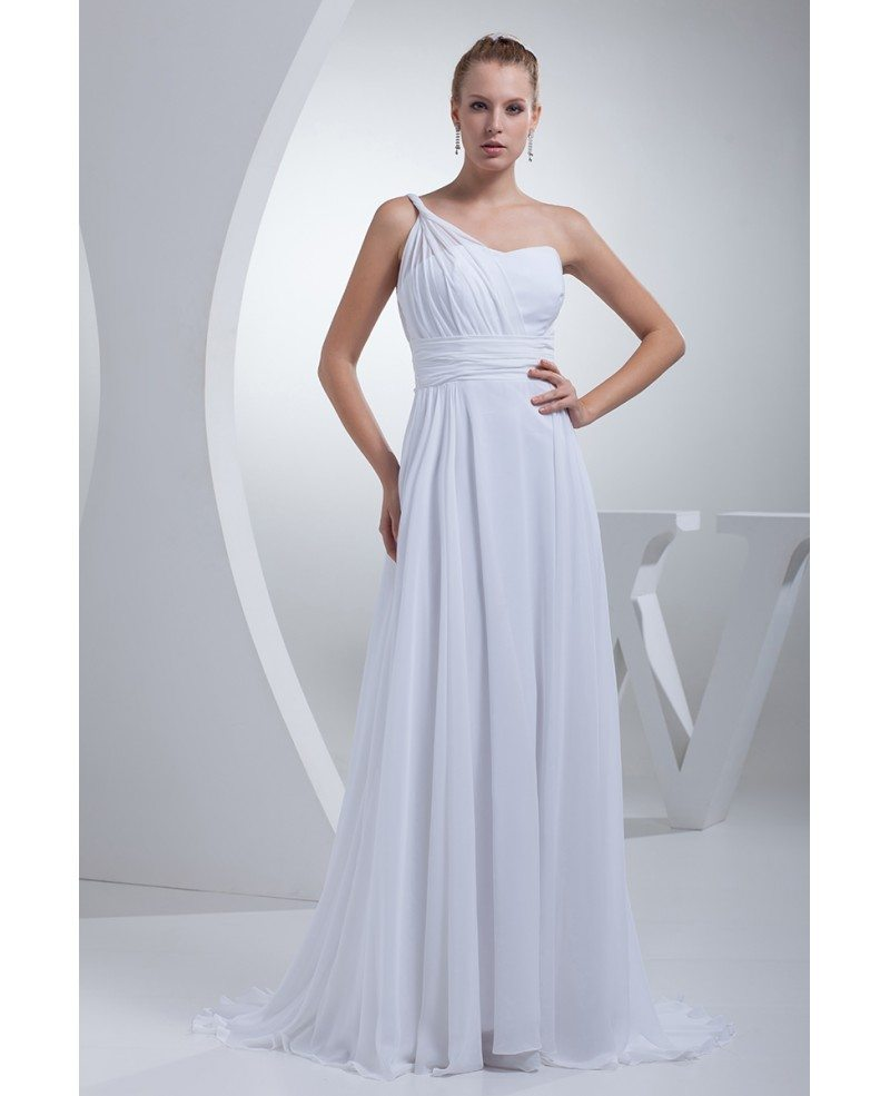 Grecian one shoulder beach wedding dress long chiffon for Grecian chiffon wedding dress