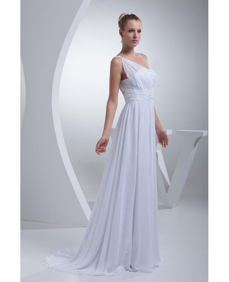 Grecian One Shoulder Beach Wedding Dress Long Chiffon