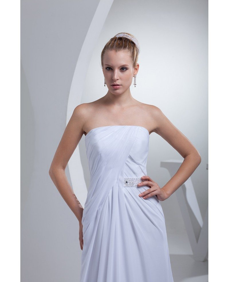 Elegant chiffon long beach wedding dress strapless op4429 for Beach chiffon wedding dress