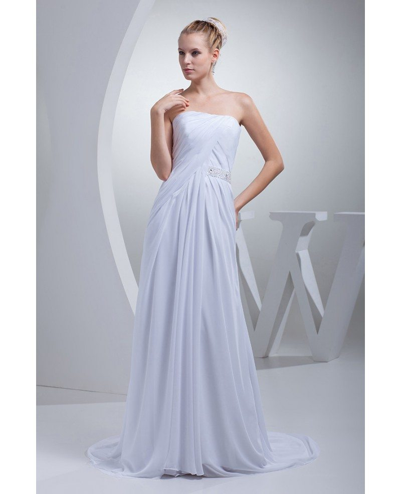 Elegant chiffon long beach wedding dress strapless op4429 for Long elegant dresses for weddings