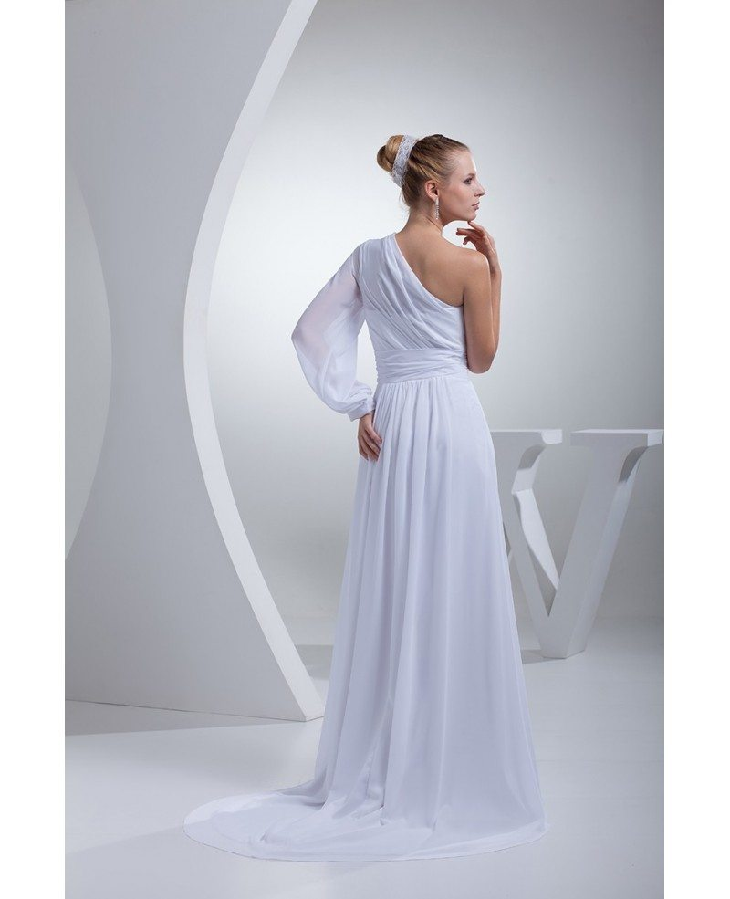 Grecian One Sleeve White Chiffon Long Beach Wedding Dress