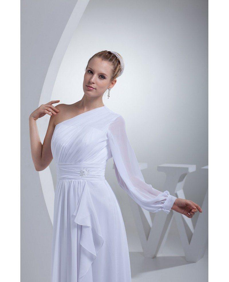 Grecian One Sleeve White Chiffon Long Beach Wedding Dress