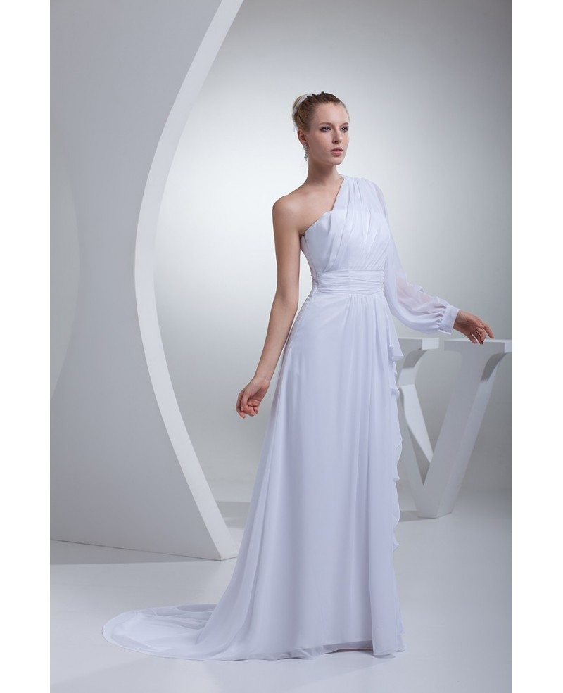 Grecian One Sleeve White Chiffon Long Beach Wedding Dress #OP4431 ...