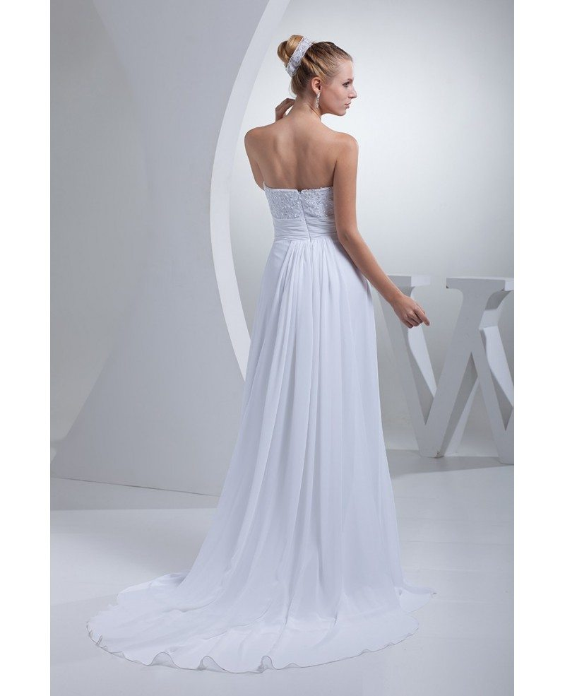 Beaded long chiffon simple beach wedding dress with flower for Beach chiffon wedding dress