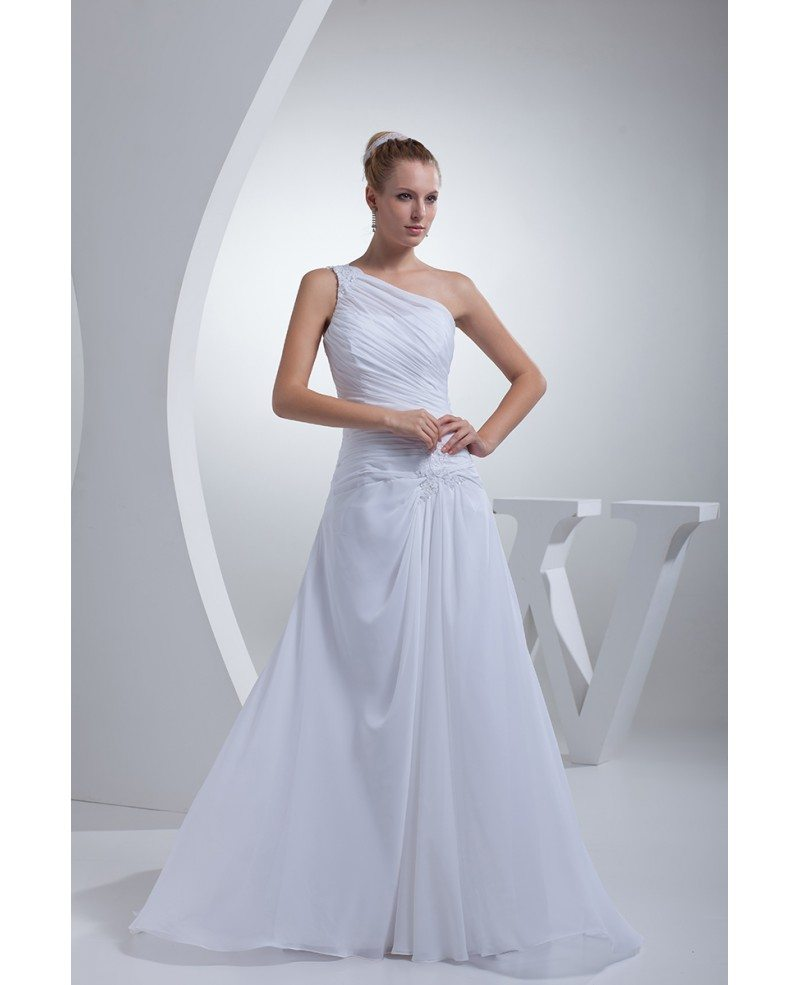 Hairstyle For Wedding Dress Type: One Shoulder Greek Style Pleated Long Wedding Dress