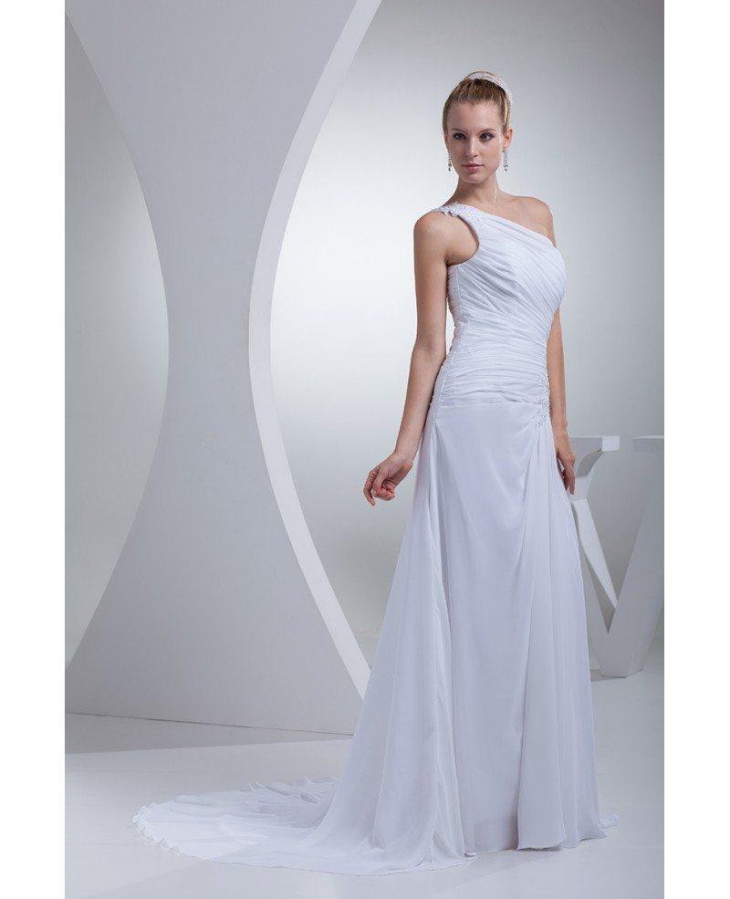 Greek Style Wedding Dresses: One Shoulder Greek Style Pleated Long Wedding Dress