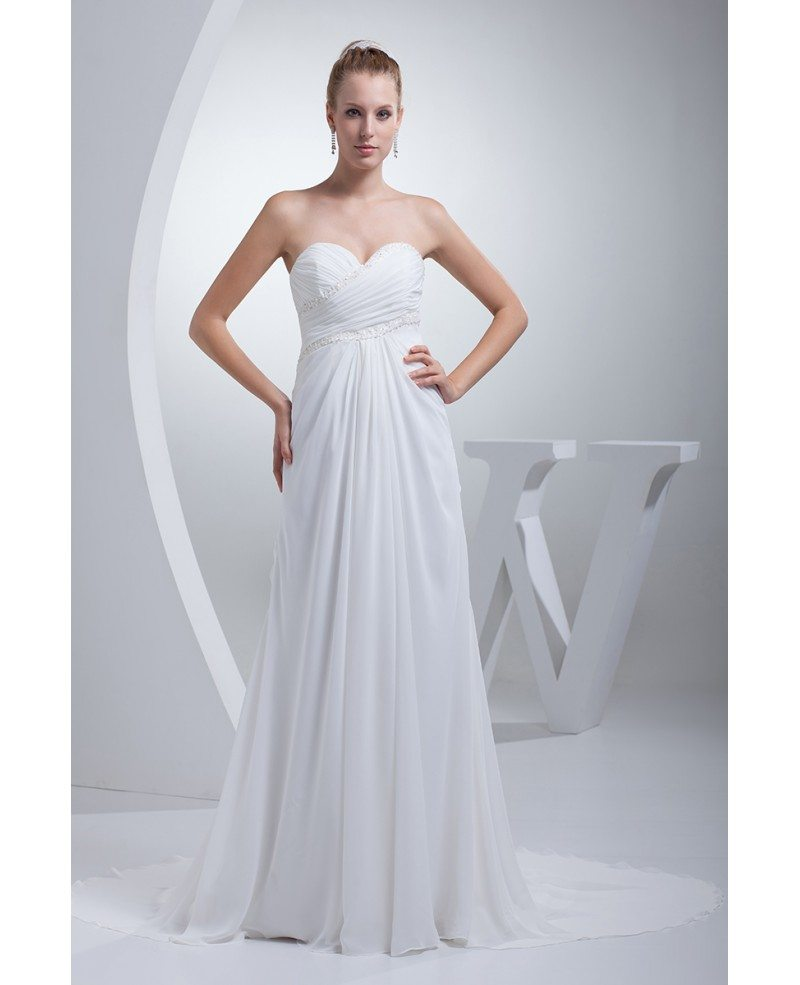 Elegant sweetheart chiffon long beach wedding dress for Beach chiffon wedding dress