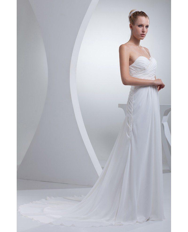Elegant Sweetheart Chiffon Long Beach Wedding Dress
