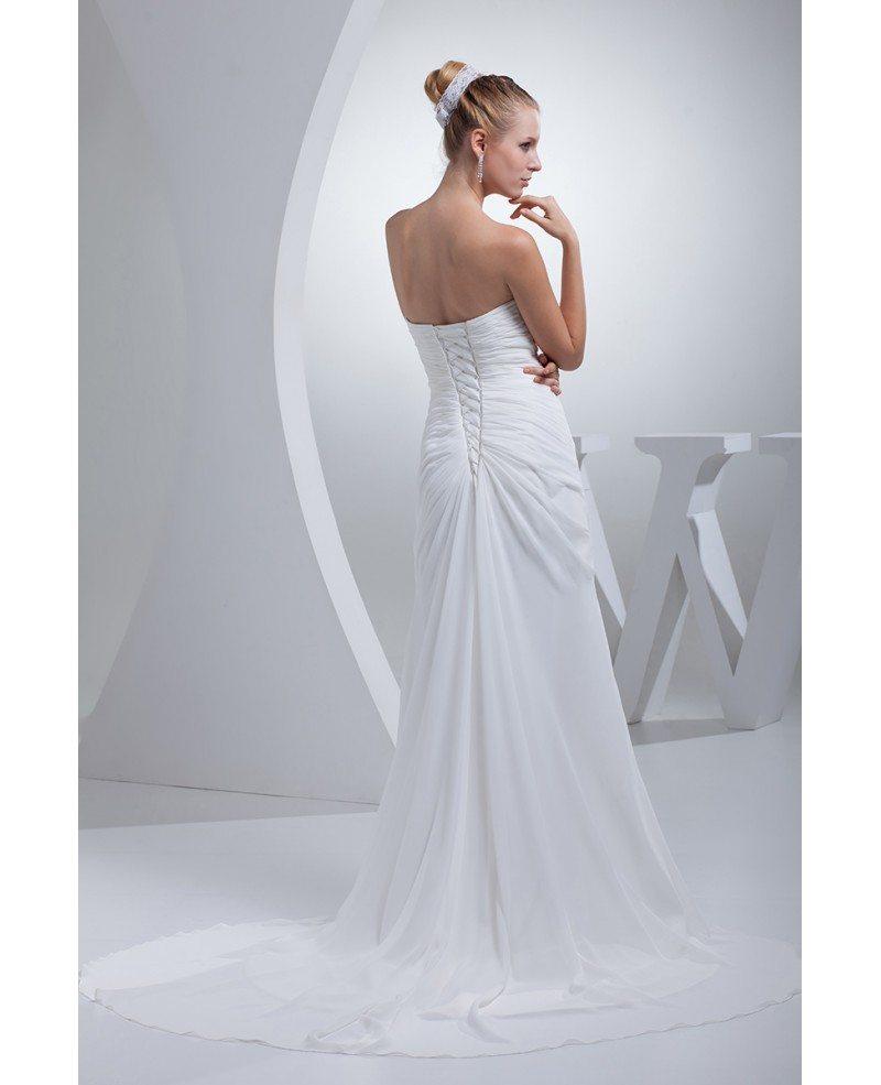 Elegant sweetheart chiffon long beach wedding dress for Chiffon sweetheart wedding dress
