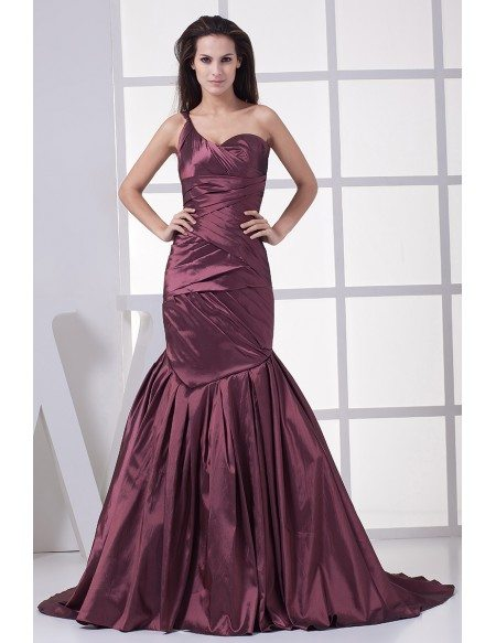 Grape Purple Pleated One Strap Mermaid Prom Dress #OP4443 ...