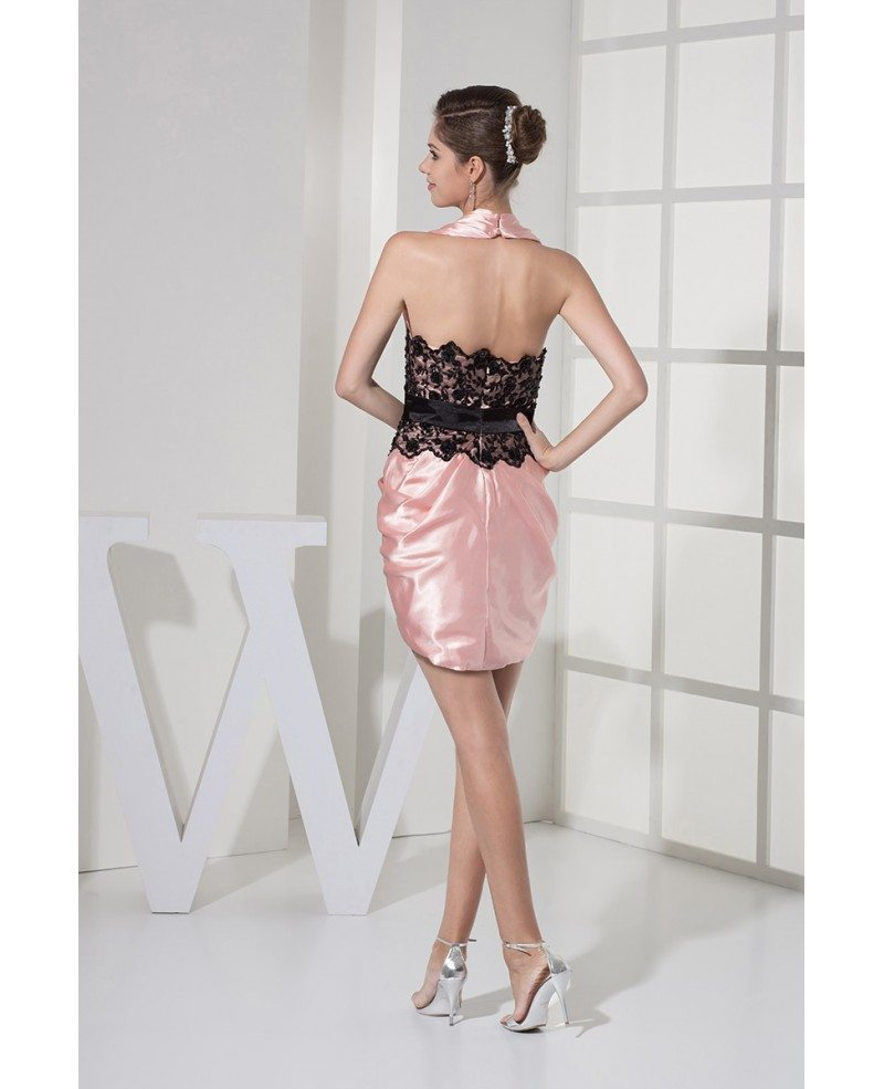 pink and black lace halter satin party dress open back