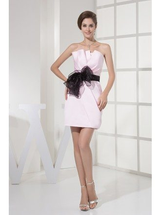 Pink with Black Bow Sash Pleated Bridesmaid Dress