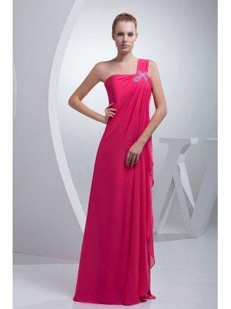 Fuschia One Strap Long Chiffon Formal Dress Split Front