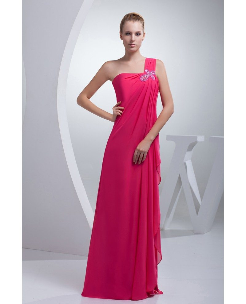 Fuschia One Strap Long Chiffon Formal Dress Split Front #OP4459 $129 ...