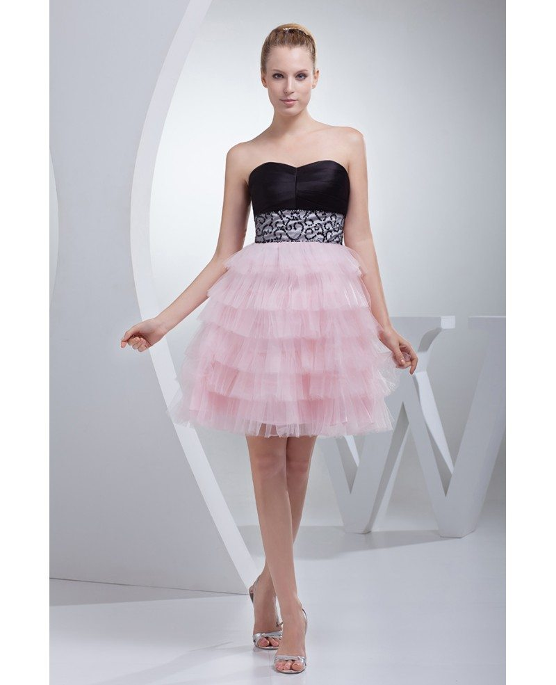 Sweetheart Black And Pink Puffy Short Prom Dress With Embroidery #OP4461 $121.7 - GemGrace.com
