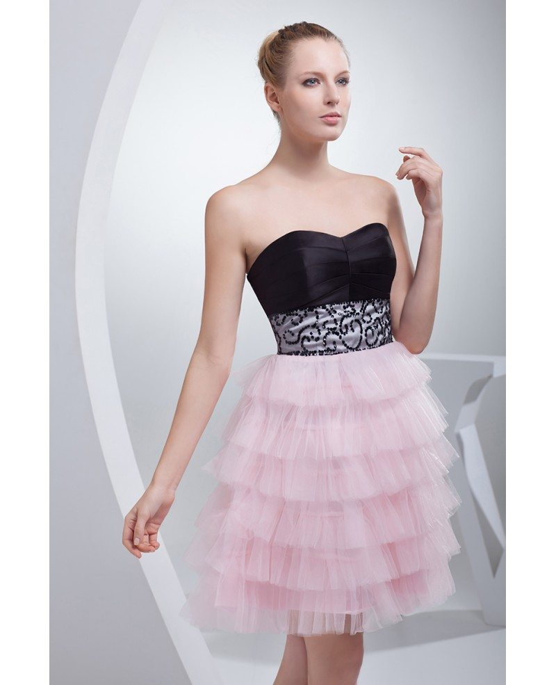 sweetheart black and pink puffy short prom dress with