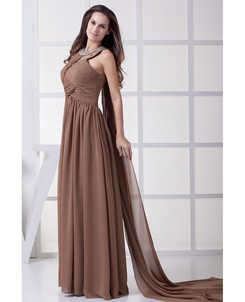 Chiffon Dressing Gown: Sequined Long Halter Exotic Brown Chiffon Prom Dress