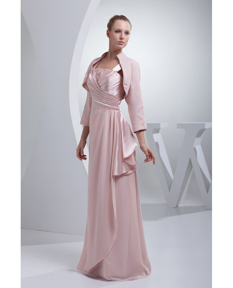 Pink Satin with Chiffon Floor Length Jacket Style Mother ...