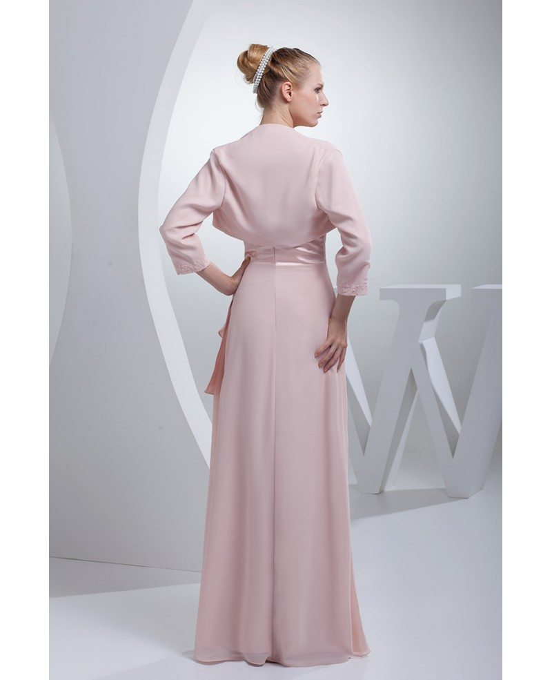 Pink Satin With Chiffon Floor Length Jacket Style Mother