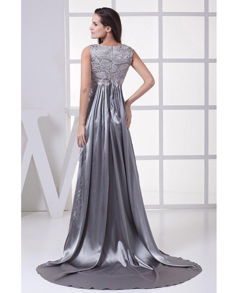 Silver Lacy Top Long Satin Formal Dress Custom #OP4464 $160 ...