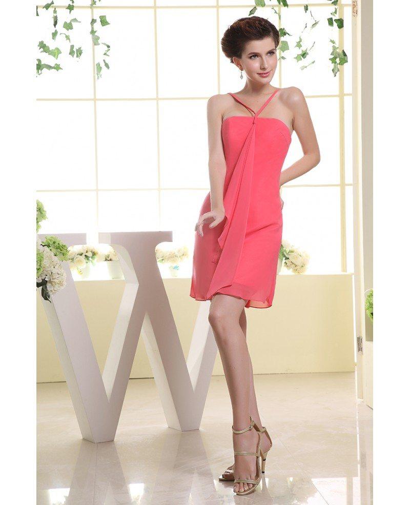 A line halter short chiffon bridesmaid dress op3057 89 for Short halter wedding dress