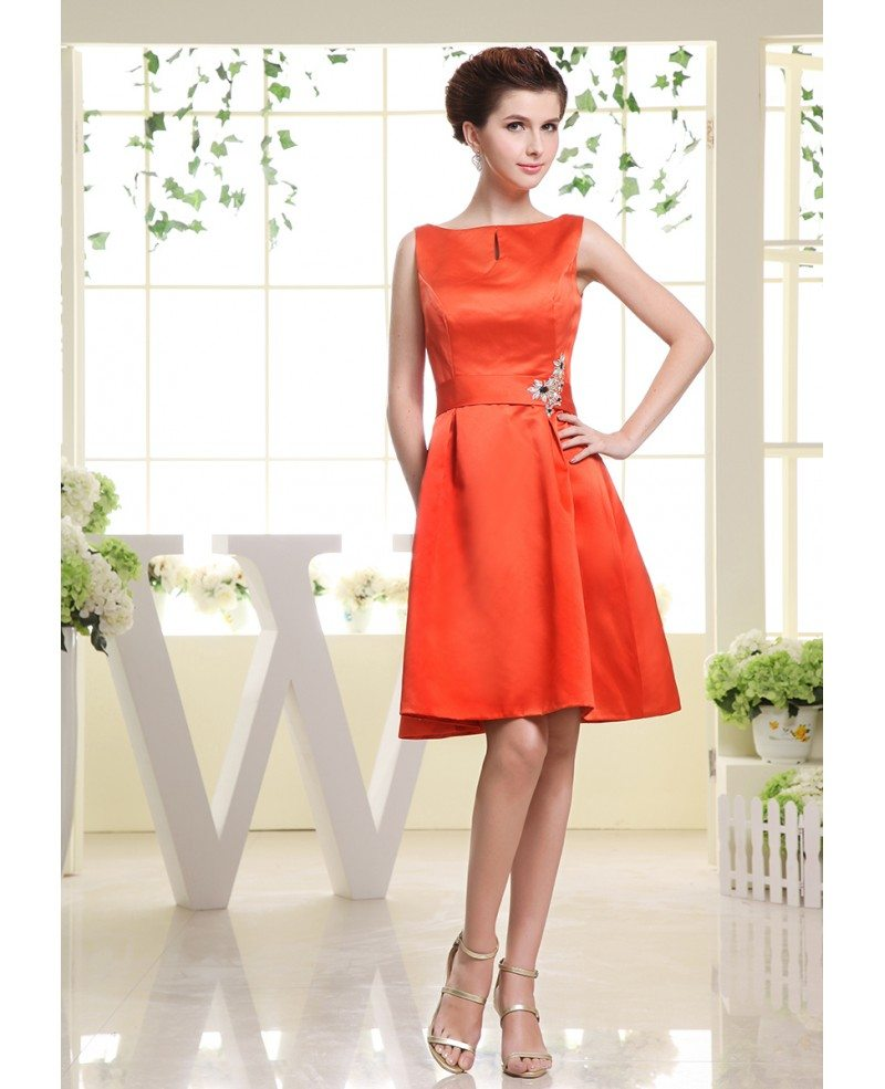 Wedding Pictures With Guest: A-line Scoop Neck Knee-length Satin Wedding Guest Dress