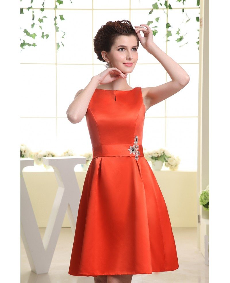 A line scoop neck knee length satin wedding guest dress for Dresses to wear at a wedding