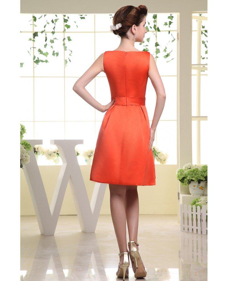A line scoop neck knee length satin wedding guest dress for Knee length dresses for wedding guests