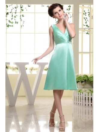 A-line V-neck Knee-length Satin Bridesmaid Dress