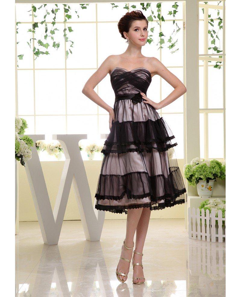 A-line Sweetheart Tea-length Tulle Wedding Guest Dress