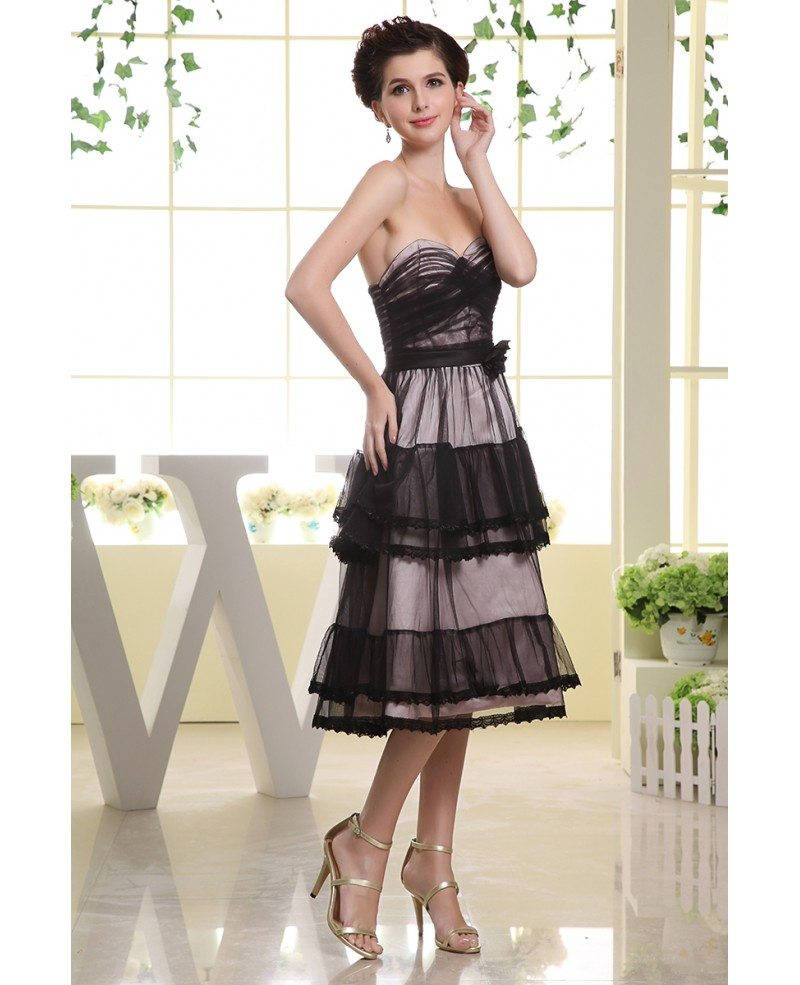 Wedding Pictures With Guest: A-line Sweetheart Tea-length Tulle Wedding Guest Dress