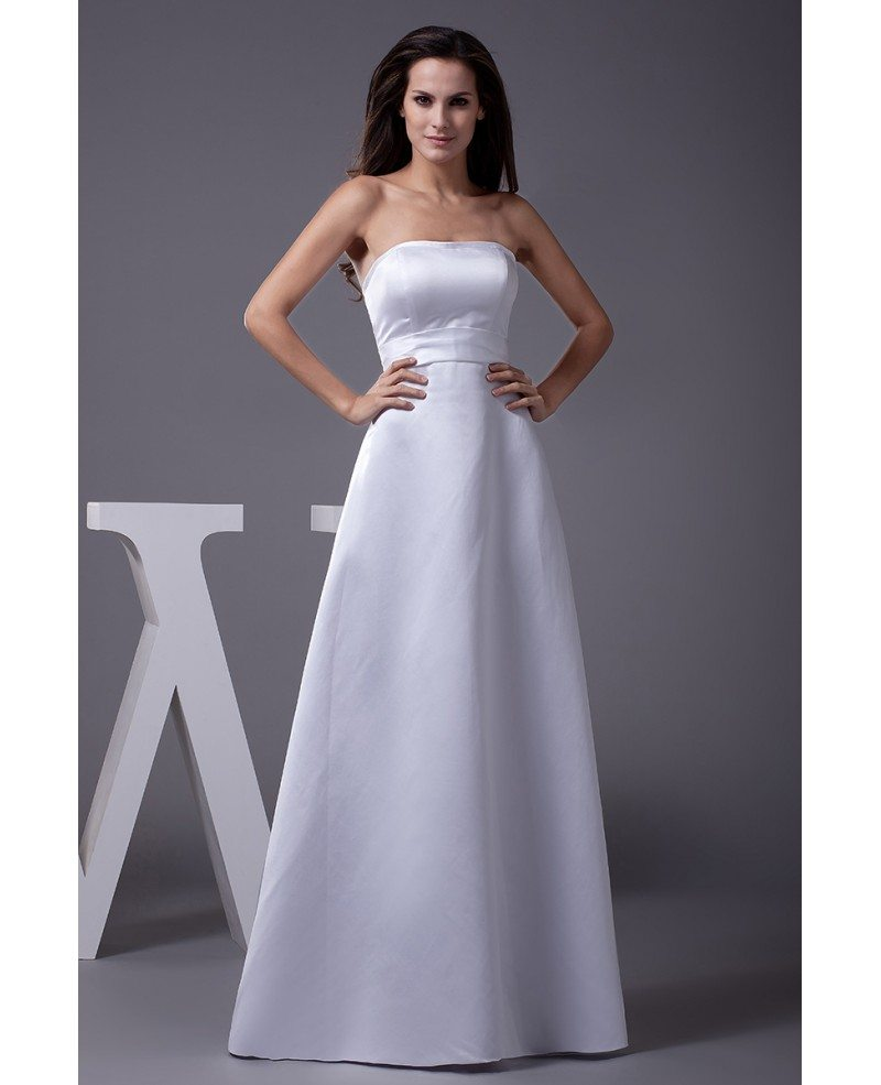 A line long satin strapless wedding dress with lace jacket for Satin a line wedding dress