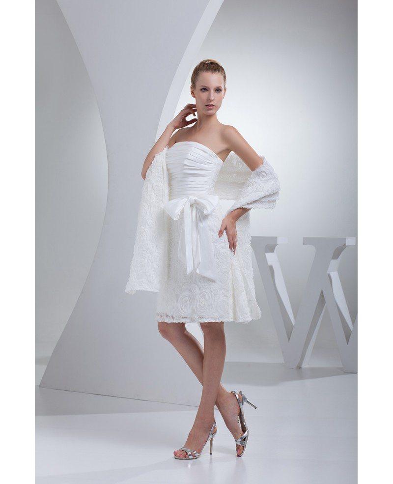 White Wedding Dress Mini: Elegant White Short Wedding Dresses Strapless Handmade