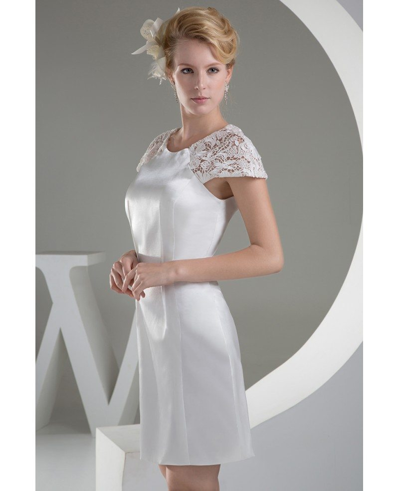 Modest short wedding dresses with sleeves white lace for Short white wedding dress with sleeves