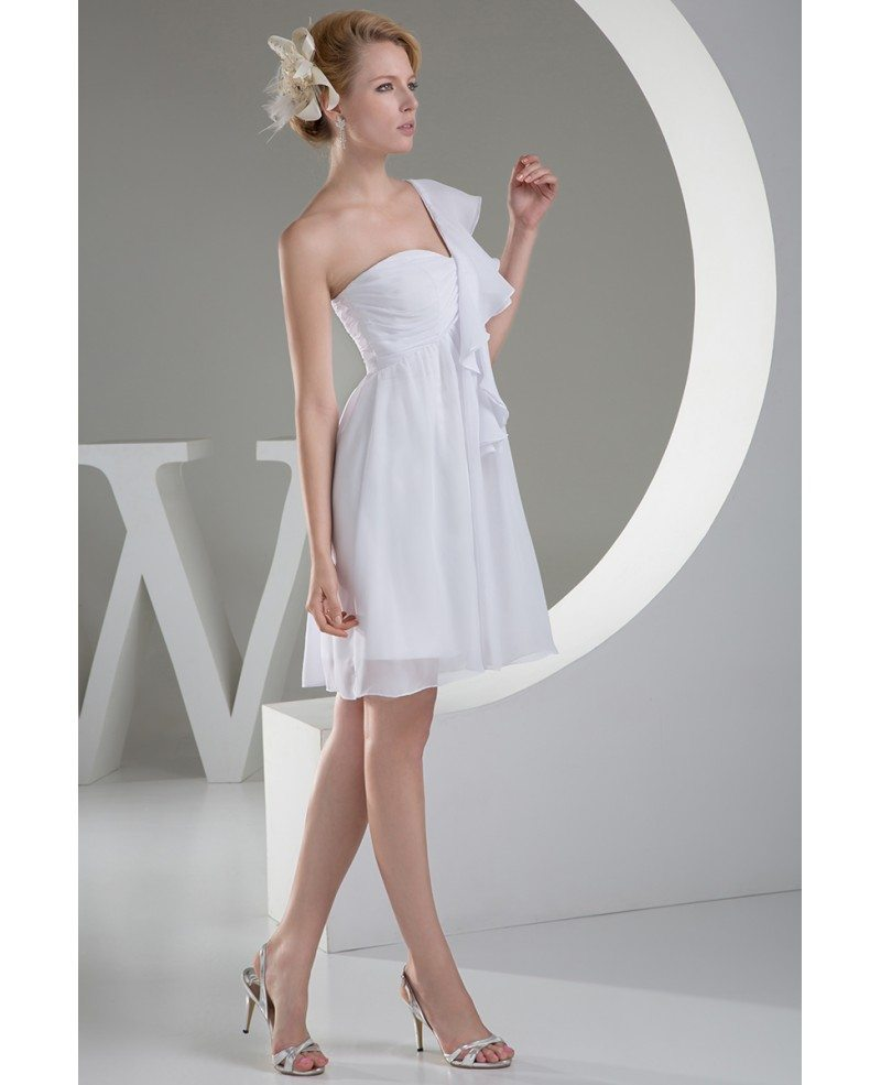 Cheap short wedding dresses beach wedding simple a line for One shoulder short wedding dress