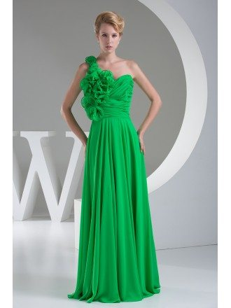Floral One Shoulder Lime Green Long Chiffon Bridesmaid Dress