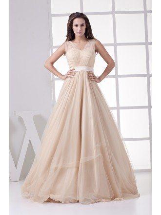 Modern Champagne Long Tulle A Line Formal Dress Custom