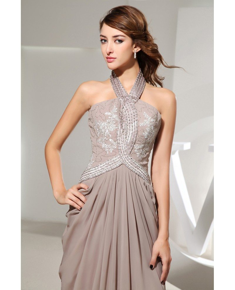 Sheath Halter Floor Length Satin Prom Dress With Beading