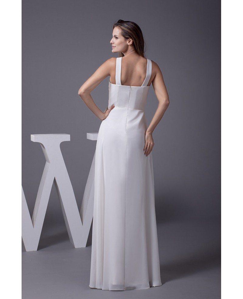V neck beaded long chiffon a line beach wedding dress for V neck a line wedding dresses