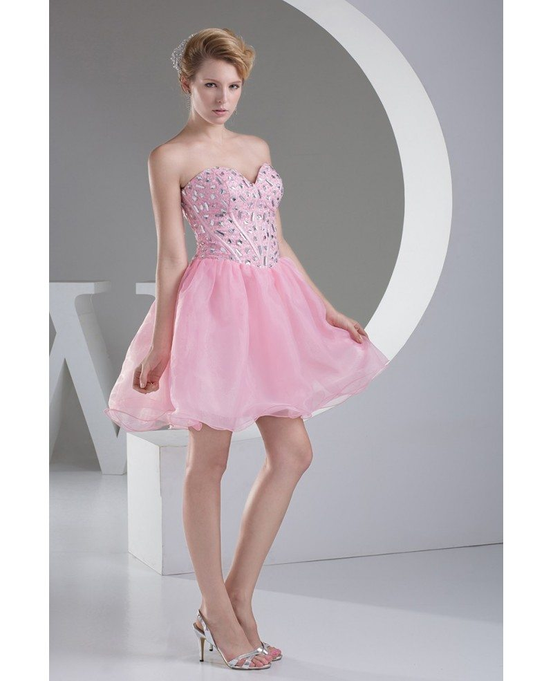 Pink Puffy Organza Short Beaded Prom Dress Sweetheart #OP4501 $126.9 ...
