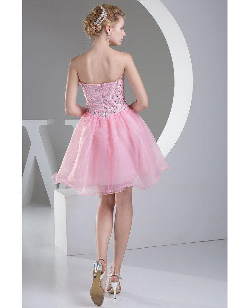 pink puffy organza short beaded prom dress sweetheart