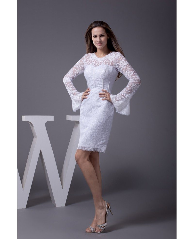 Fitted Short Wedding Dresses With Lace Sleeves Unique Long