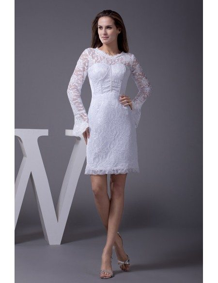 Fitted short wedding dresses with lace sleeves unique long for Short fitted wedding dresses