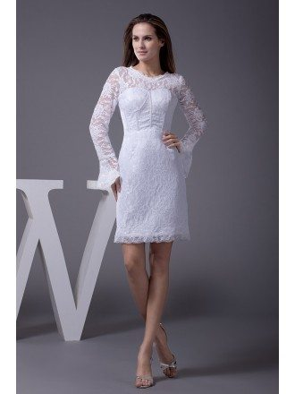 Unique Long Lace Sleeve Short Wedding Dress Reception