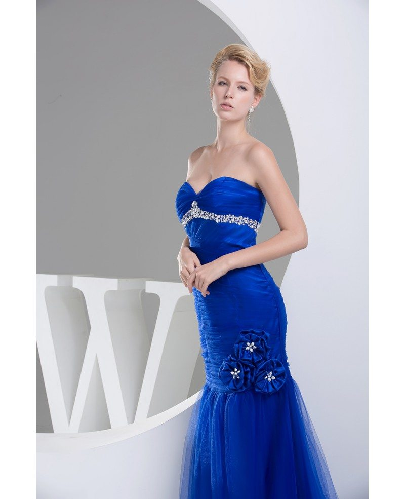 Royal Blue Long Tulle Mermaid Prom Dress With Beading