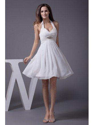 Cute Short Halter Chiffon Wedding Dress with Crystals